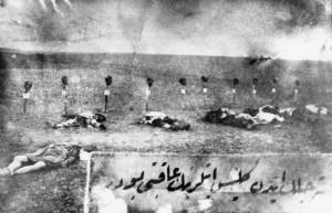This 1915 photo shows Armenian massacre victims. Members of the Armenian diaspora allege that the killings and mass deportations of Armenians undertaken by the Ottoman Empire in 1915 amounted to genocide. An estimated 1.5 million Armenians were killed. AP Images.