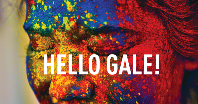 Face with multi-color paint splatters and 'Hello Gale!' text